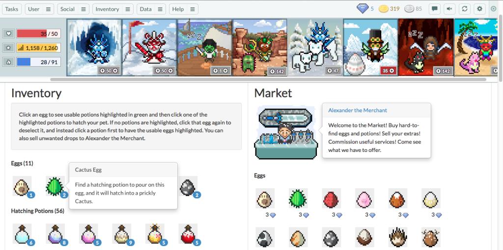 screenshots from Habitica