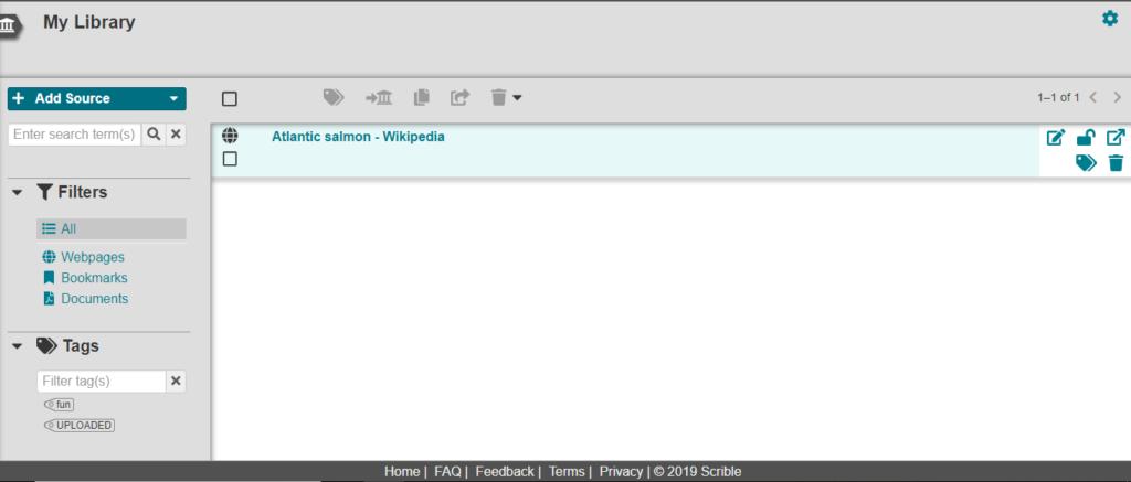 Screenshot from Scrible
